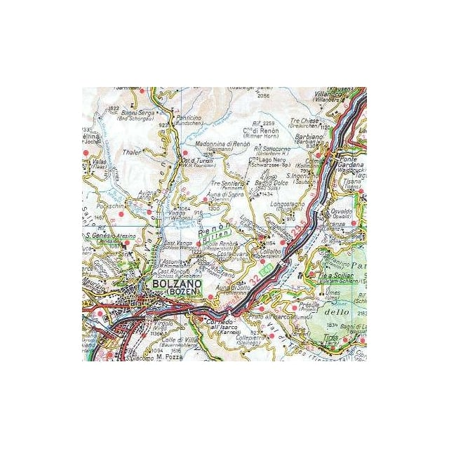 TCI 03 Trentino alto Adige Dolomites Regional Map