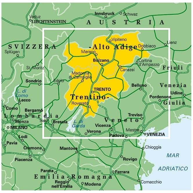 03: Trentino alto Adige Dolomites Regional Map - Touring Club ... on