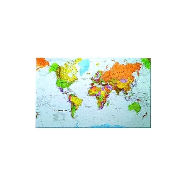 1:20 Million World Wall Map Laminated (Without Flags)