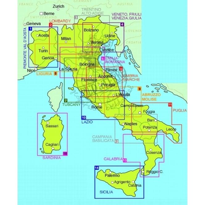 TCI 10 Lazio Latium Rome Regional Road Map