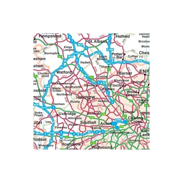 Map Around London.100 Miles Around London Wall Map