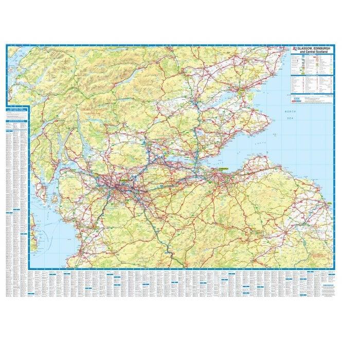 Map Edinburgh.Glasgow Edinburgh Central Scotland A Z Road Wall Map Laminated Edition