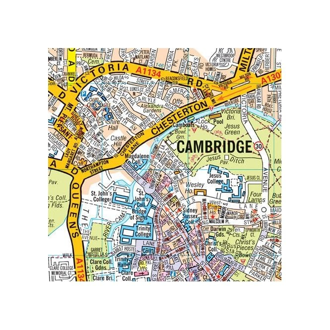 A Z Map Of England.Cambridge A Z Street Plan Flat Edition