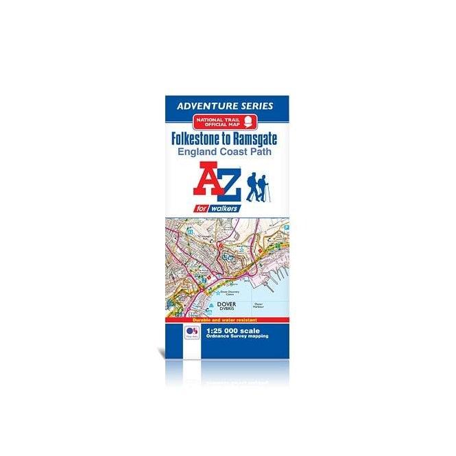 A Z Map Of England.England Coast Path Folkestone To Ramsgate A Z Adventure Map