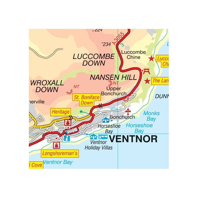 London East Map.Isle Of Wight A Z Visitors Wall Map Laminated Edition