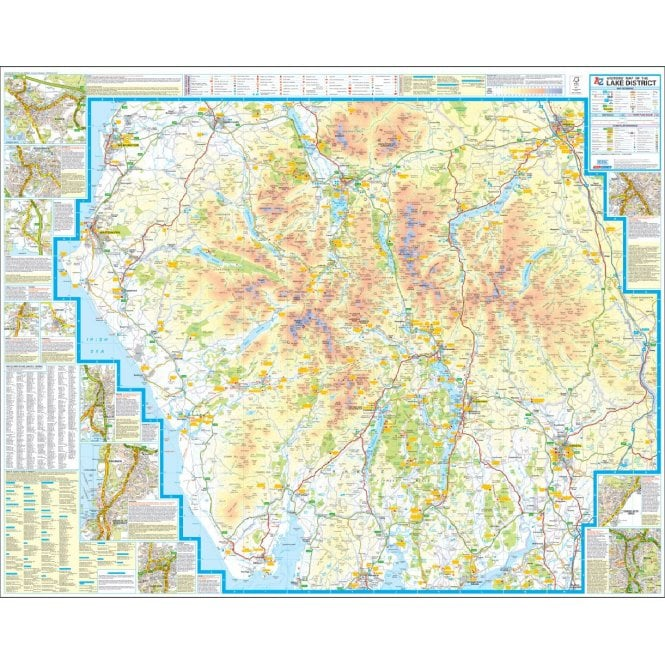 North London Areas Map.Lake District A Z Visitors Wall Map