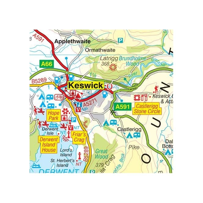 Map North West London.Lake District A Z Visitors Wall Map