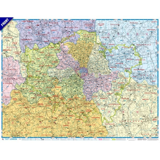 South London Map.London A Z Postcode And Administrative Boundaries Wall Map