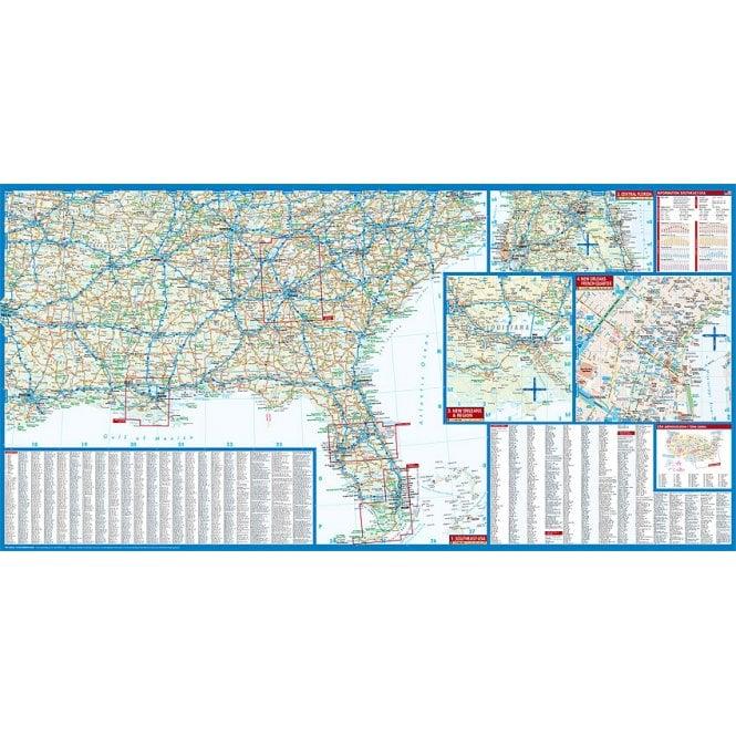 USA 6 - Southeast (The South & Florida) Road Map - Borch