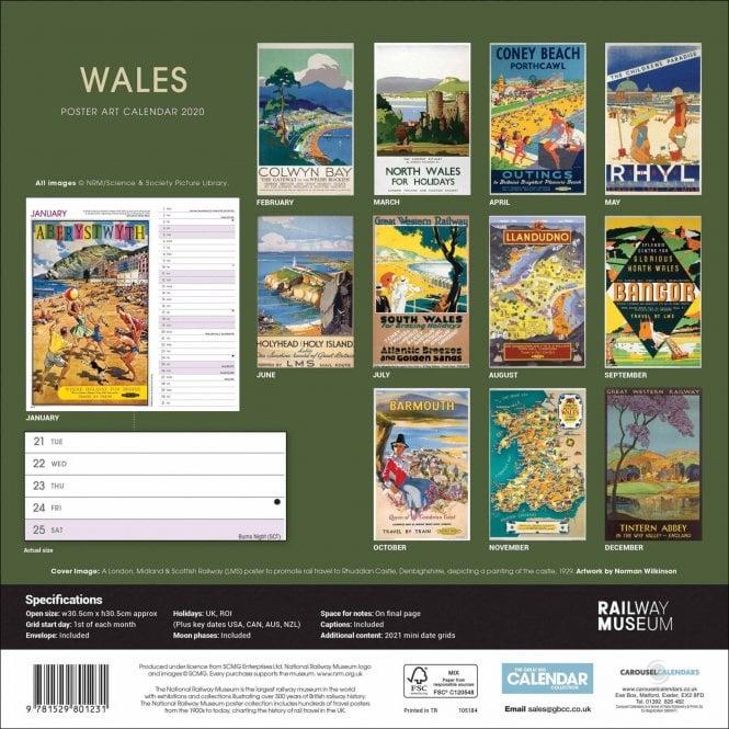 Wales Poster Art Calendar 2020 Carousel Calendars