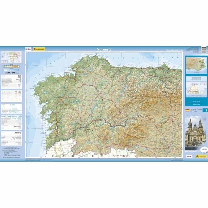 Road Map Of Spain.500k Regional Road Map Of Spain 1 North West From Cnig