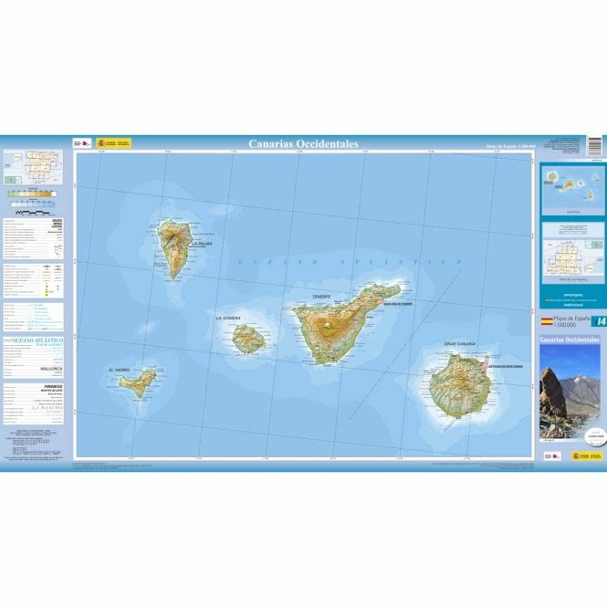 Map Of Spain And Surrounding Islands.500k Regional Road Map Of Spain 14 Western Canary Islands