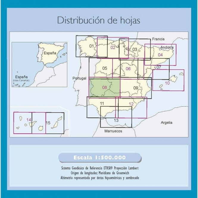 Map Of South West Spain.500k Regional Road Map Of Spain 8 Central South West
