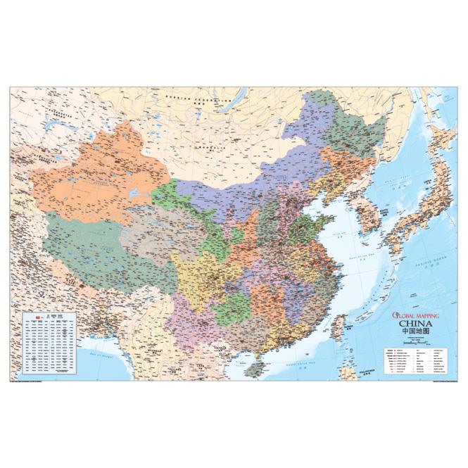 China Political Laminated Wall Map