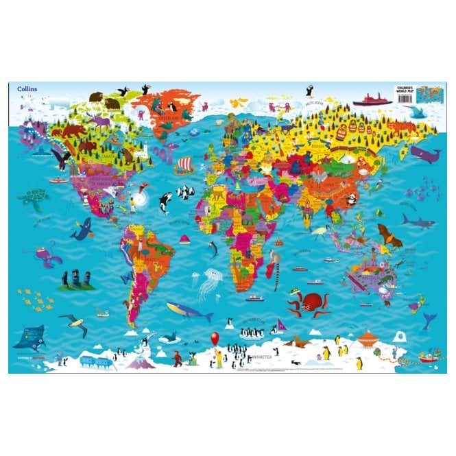 Collins Children S World Wall Laminated Map