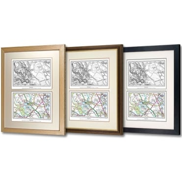 Deluxe Framed Personalised Dual Past & Present Map - choice of framing