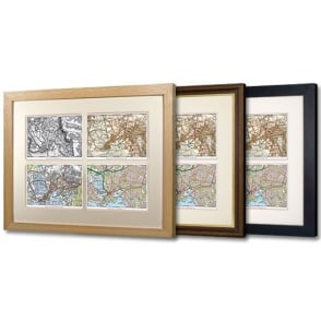 Deluxe Framed Personalised Quad Past & Present Map - choice of framing