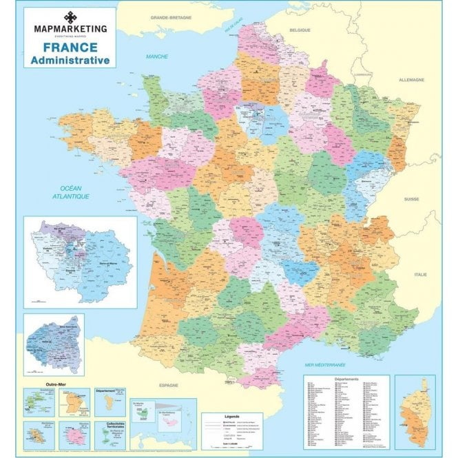 Clear Map Of France.France Administrative Laminated Wall Map