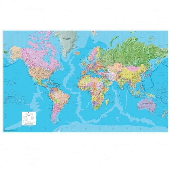 Giant World Political Laminated Wall Map (GWLD) Huge