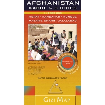 Afghanistan & Kabul and 5 Cities Geographical Map