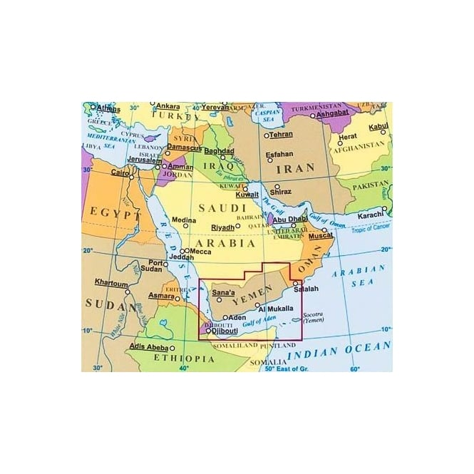 Yemen and Gulf of Aden Geographical Map