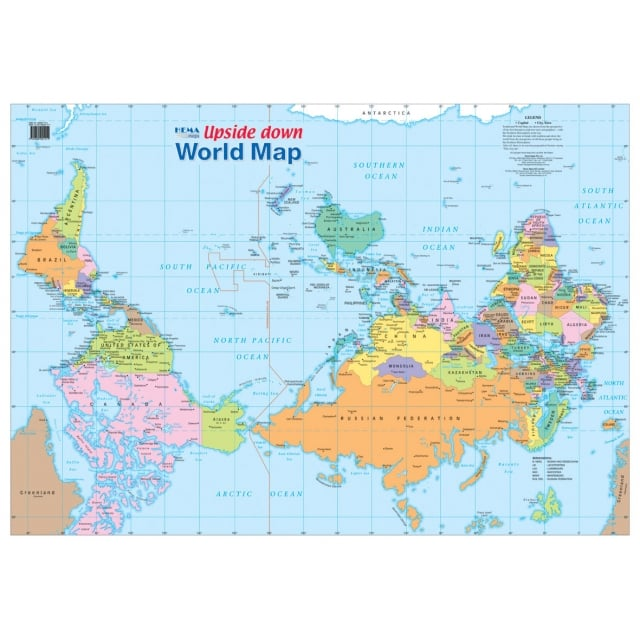 Upside down world wall map laminated world from maps worldwide uk upside down world wall map laminated gumiabroncs Images