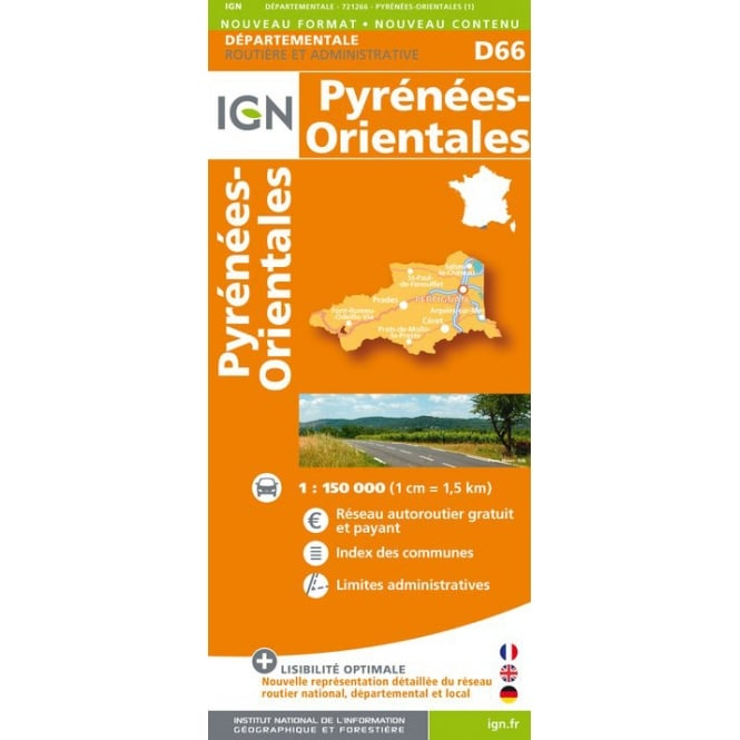 D66 Pyrenees Orientales Department Map