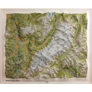 Institut Geographique National (IGN) Massif Mont-Blanc 3D Relief Wall map