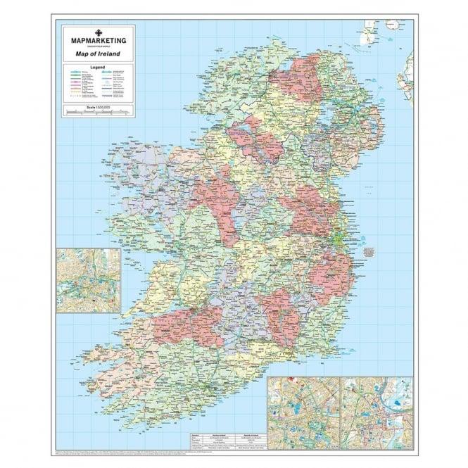 Ireland political laminated wall map accessories from maps ireland political laminated wall map accessories from maps worldwide uk gumiabroncs Gallery