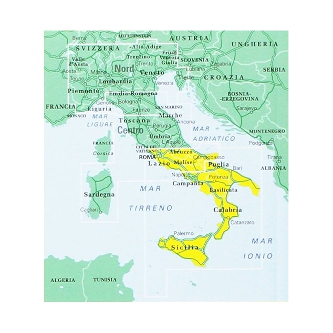 Road Map Of Southern Italy.Italy Road Atlas Southern 2018