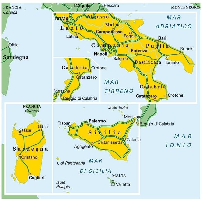 Map Of Italy And Islands.Italy South And Islands Regional Map