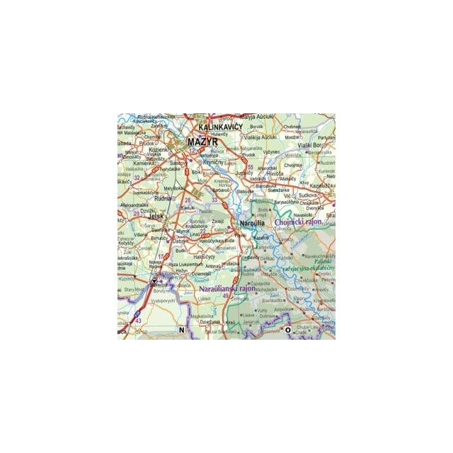 Belarus Road Map Europe from Maps Worldwide UK