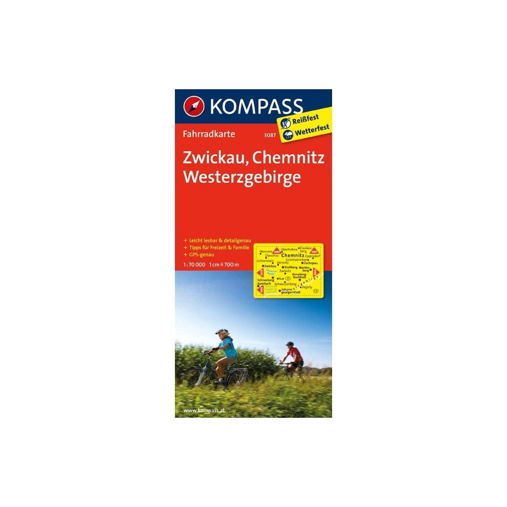 Zwickau Karte.Zwickau Chemnitz Westerzgebirge Kompass Cycling Map 3087