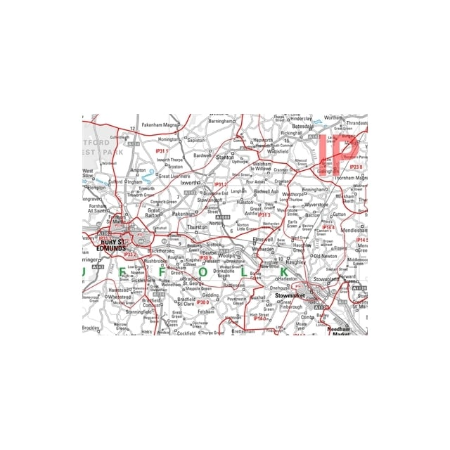 North Postcode Sector Map 15 East Anglia Laminated Wall Map