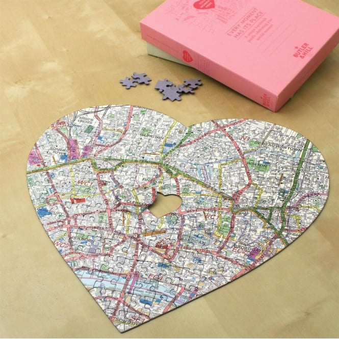 Heart Personalised Map Jigsaw Puzzle