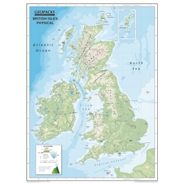 Reversible British Isles Laminated Wall Map with Hanging Strips