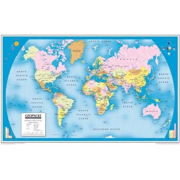 Reversible World Laminated Wall Map with Hanging Strips