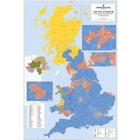 UK Parliamentary Constituency Boundary Wall Map Laminated