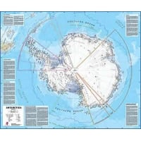 Antarctica Laminated Wall Map With Metallic Hanging Strips 1:7 Million