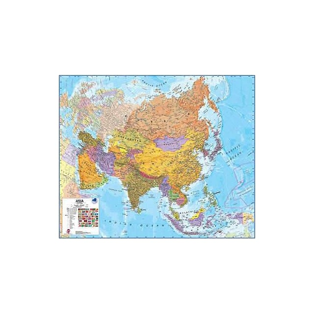 Asia Paper Wall Map 1:11 Million
