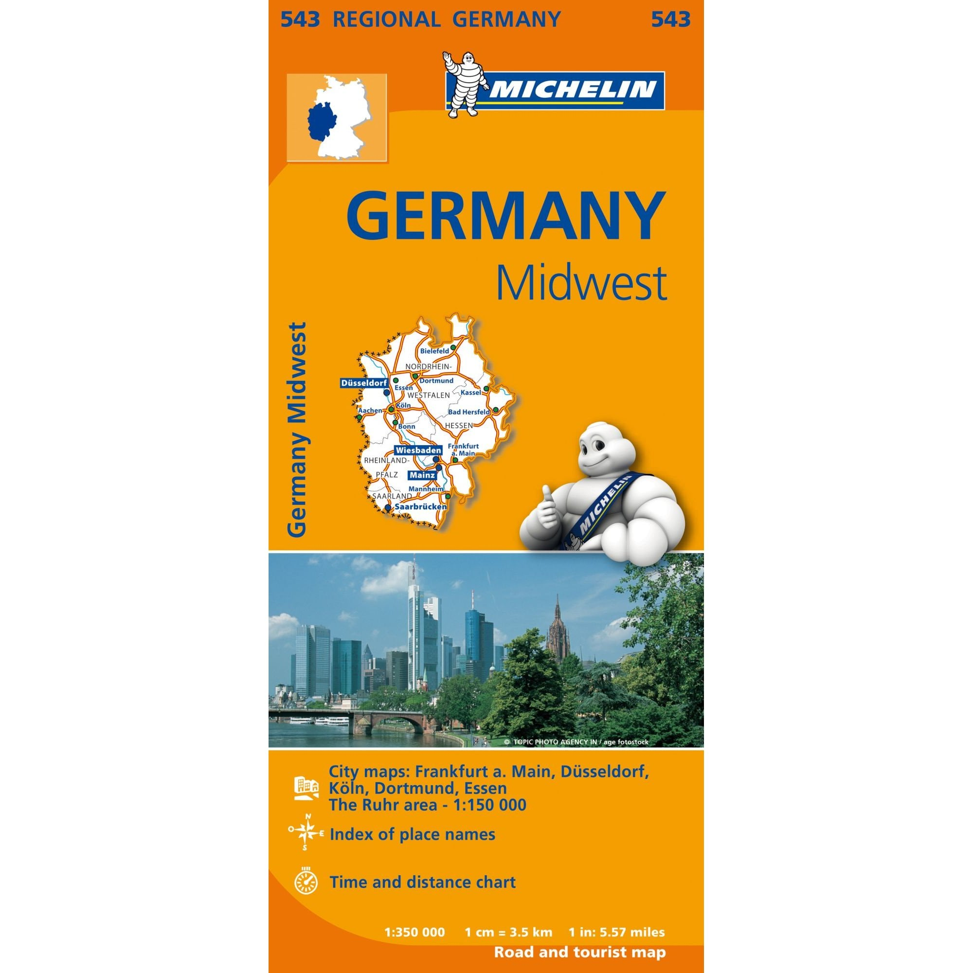 Image of: Michelin Regional Road Map 543 Germany Midwest
