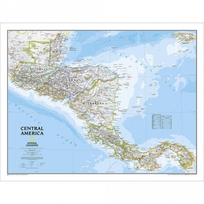Map Of America Political.Central America Political Wall Map 28 75 X 22 25 Inches