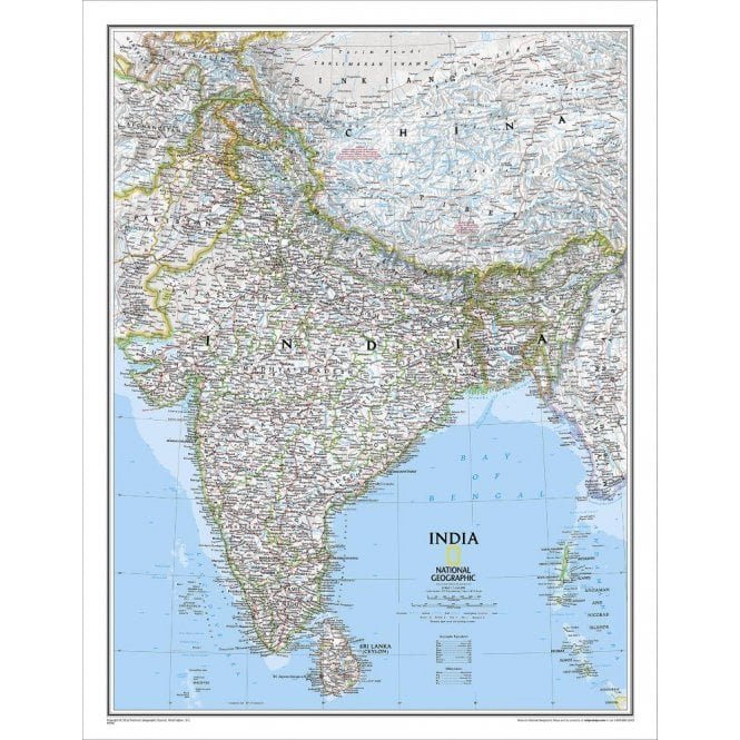 India Political Wall Map (23.5 x 30.25 inches)