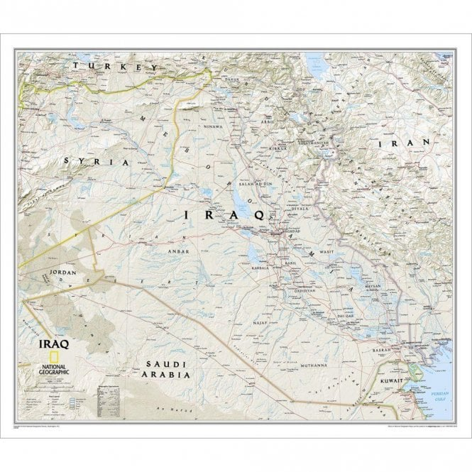 Iraq Political Wall Map (28 25 x 24 25 inches)