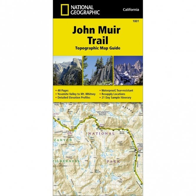 John Muir Trail Topographic Map Guide Trail Map - Nat Geo 1001