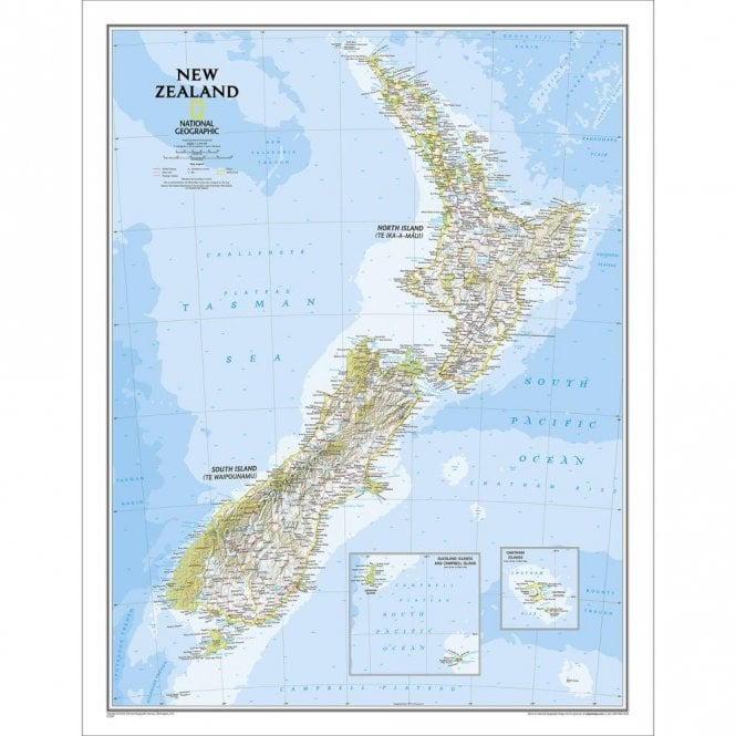New Zealand Political Wall Map - Laminated (23.5 x 30.25 inches)