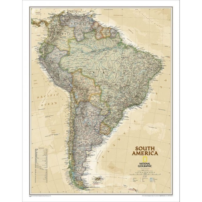 Map Of America Political.South America Political Antique Style Executive Wall Map 23 5 X 30 25 Inches