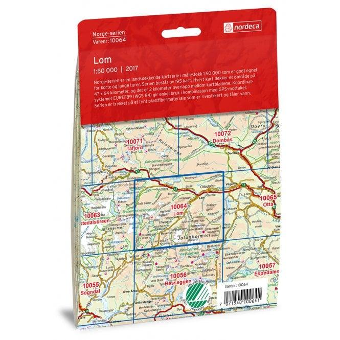 Lom Nordeca 50k Hiking Map 10064 Nordeca Norge Serien
