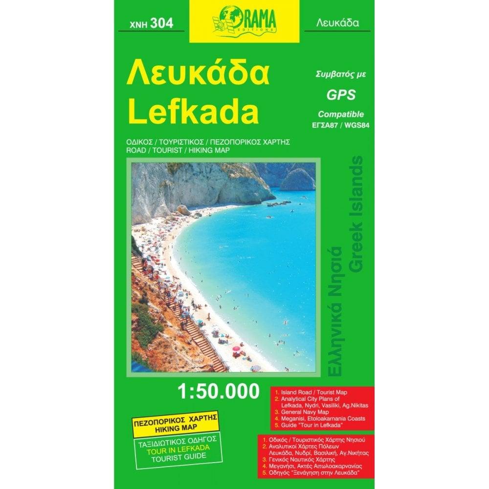 Lefkada Islands Of Greece Tourist Road Map 304 Orama Editions