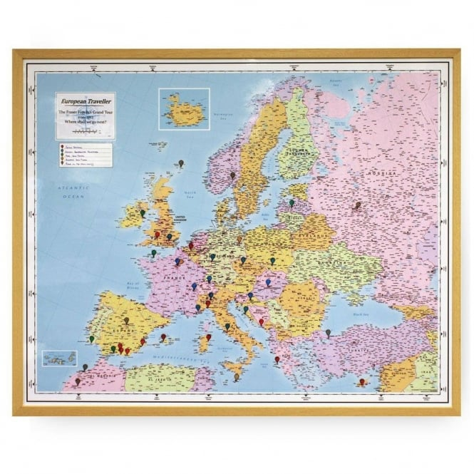 Personalised European Traveller Wall Map